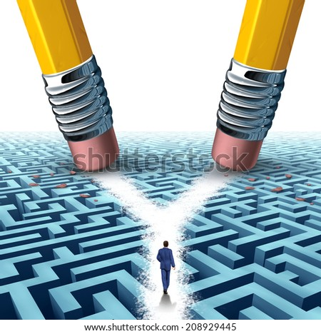Solution crossroad business concept as a three dimensional maze or labyrinth being erased by two pencils clearing a cross road path for a businessman as a symbol for choosing the pathway to success. - stock photo