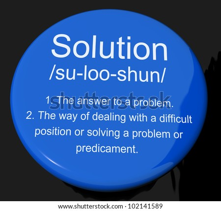 Solution Definition Button Shows Achievement Vision And Success
