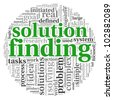 Solution finding concept in word tag cloud on white background - stock photo