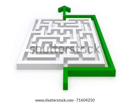 Solution for maze puzzle - see variations in portfolio - stock photo