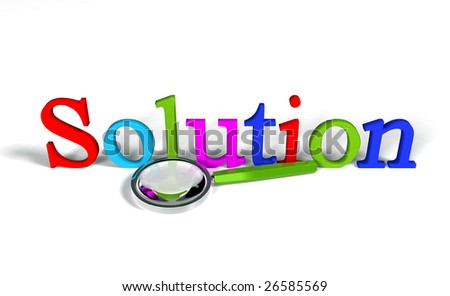 Solution (Magnifying glass) - stock photo