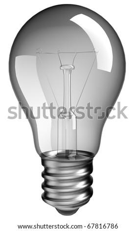 Solution or idea: lightbulb over white background - stock photo