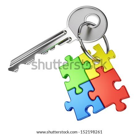 Colorful Puzzle Cube Golden Key Stock Illustration