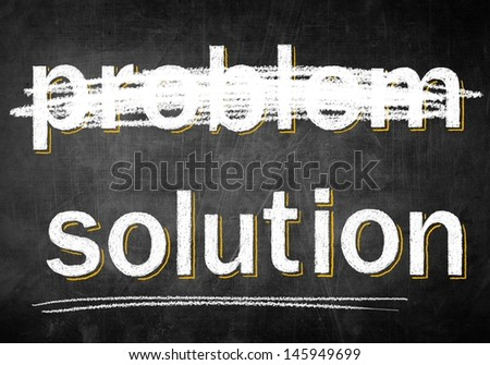 Solution problem on chalk board, conceptual sketch - stock photo