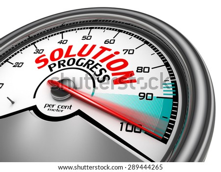 solution progress conceptual meter indicate maximum, isolated on white background
