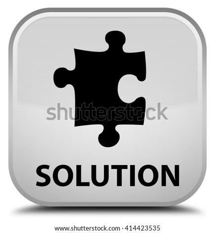 Solution (puzzle icon) white square button - stock photo