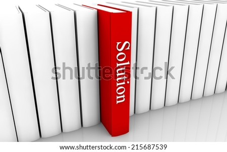 Solution red book standing out from a row of book - stock photo