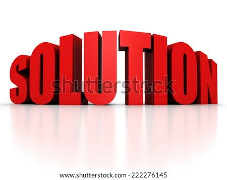 SOLUTION red text word with reflection. 3d render illustration - stock photo
