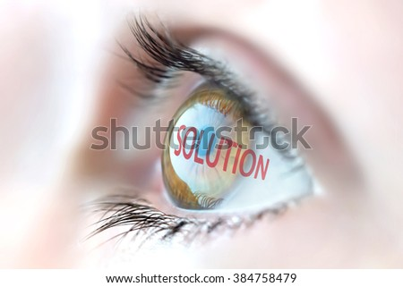 Solution reflection in eye. - stock photo