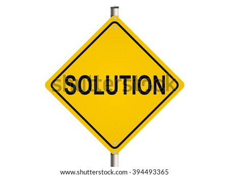 Solution. Road sign on the white background. Raster illustration. - stock photo