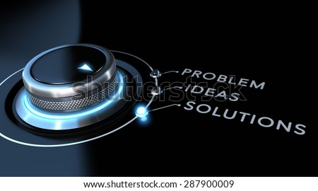 Solution switch positioned on the word solutions over black and blue background. Concept of problem solving.  - stock photo