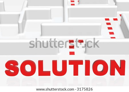 Solution text in front of maze - stock photo