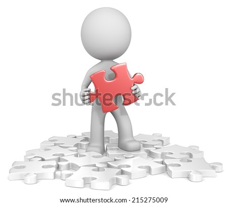 Solution. The dude finding red puzzle piece. Random white. - stock photo
