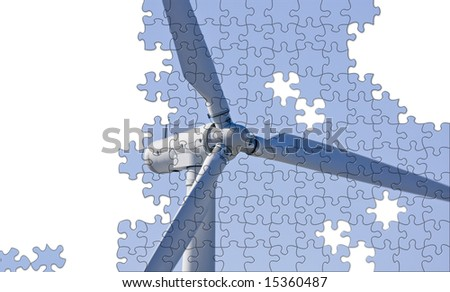 Solution to climate change puzzle with copy space - stock photo