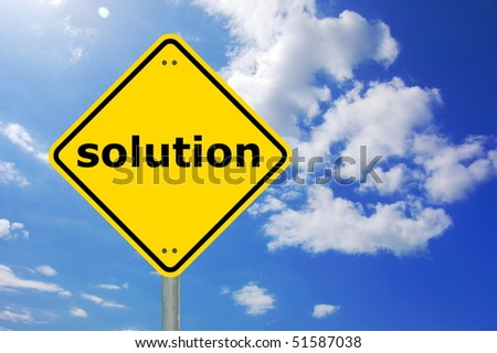solution to your business problems concept with yellow sign - stock photo