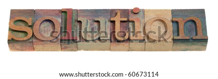 solution - word in vintage wood letterpress printing blocks, isolated on white