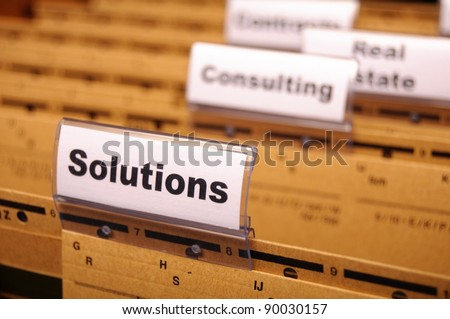 solution word on business folder showing solving a problem concept