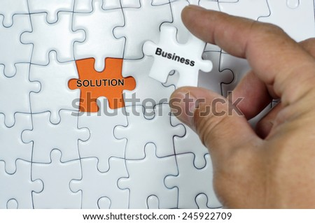 Solution word on white puzzle                                - stock photo