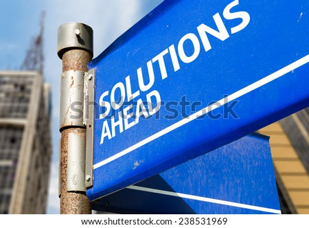 Solutions Ahead blue road sign - stock photo