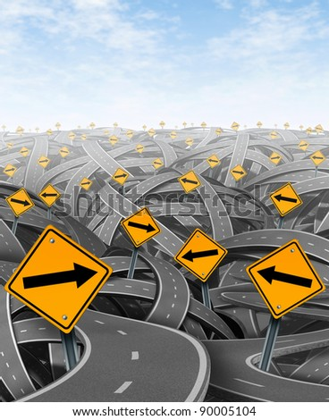 Solutions and strategy with goals and strategic journey choosing the right strategic path for business with yellow traffic signs with arrows tangled roads and highways in a confused direction. - stock photo