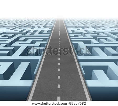 Solutions and success with clear vision and strategy due to careful planning and management building a road bridge over a maze cutting through the confusion and succeeding in business and life. - stock photo