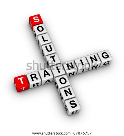 solutions and training crossword - stock photo