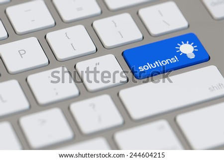 Solutions at online brainstorming with lightbulb on computer keyboard (3D Rendering) - stock photo