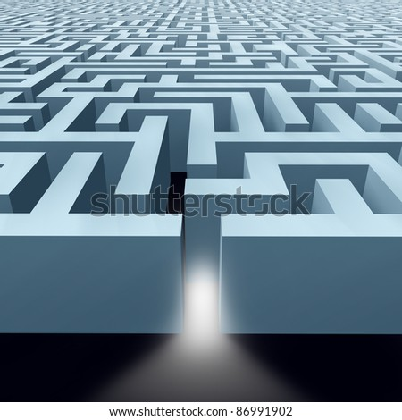 Solutions featuring a maze labyrinth showing the concept of challenges by a pattern of structured walls showing the concept of problem solving using strategy and planning so you do not get lost. - stock photo