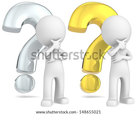 Solutions. The Dude in front of silver and gold question marks. - stock photo