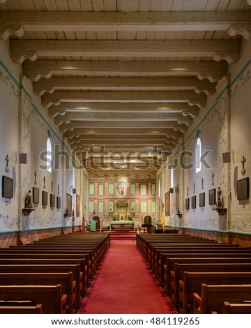 SOLVANG, CALIFORNIA - JULY 31: Interior of Mission Santa Ines on Mission Drive on July 31, 2016 in Solvang, California