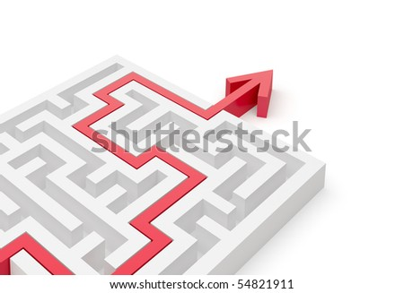Solved maze puzzle close-up - stock photo