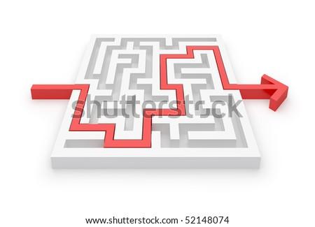 Solved maze puzzle - more mazes in portfolio - stock photo