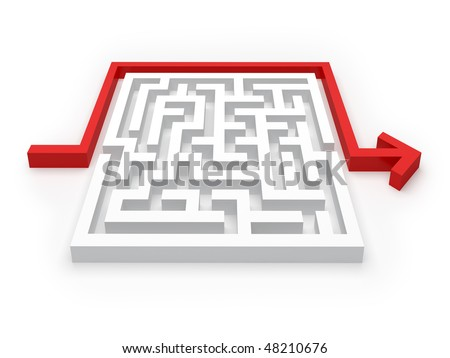 Solved Maze Puzzle - see more in portfolio - stock photo