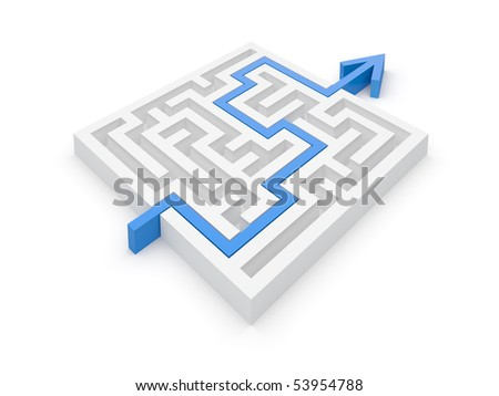 Solved maze puzzle -- see variations in portfolio - stock photo