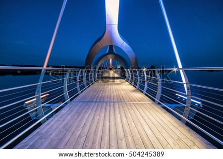 Solvesborg bridge perspective in evening lights