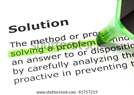 Solving a problem highlighted in green, under the heading Solution. - stock photo