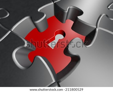 solving problems abstract concept with metallic jigsaw puzzles illustration - stock photo