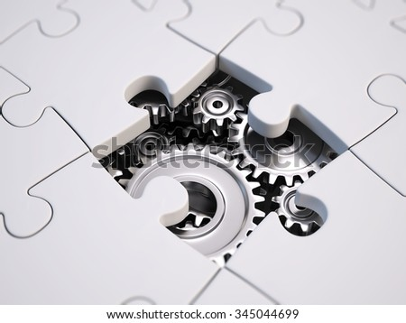 solving the problem concept - puzzles and gears - stock photo