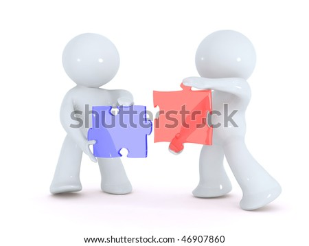 Solving the puzzle together - stock photo