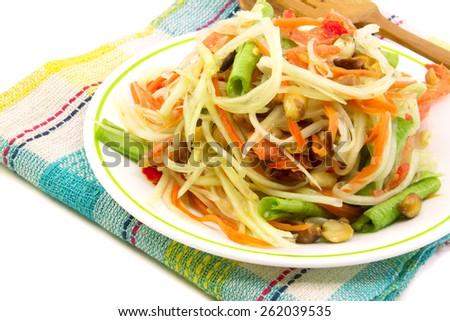 Som Tam, Thai papaya salad close up - stock photo