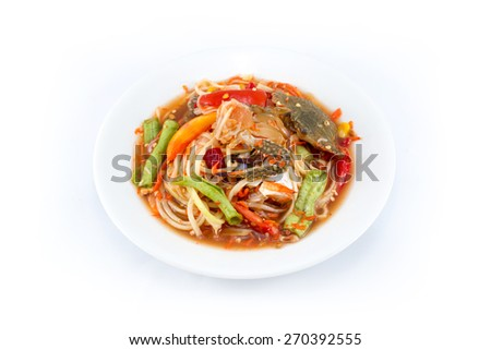 Som Tum - papaya salad - spicy Thai food - stock photo
