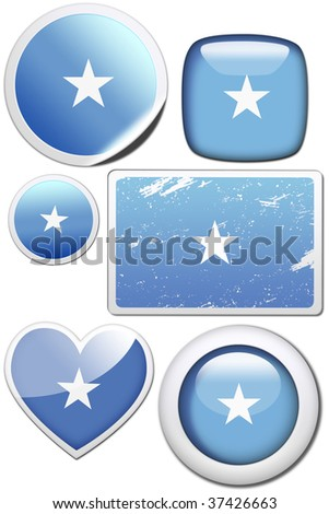 Somalia - Glossy and colorful stickers with reflection set - stock photo