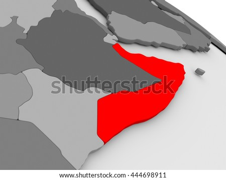 Somalia highlighted in red on model of globe. 3D illustration