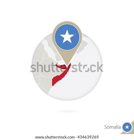 Somalia map and flag in circle. Map of Somalia, Somalia flag pin. Map of Somalia in the style of the globe. Raster copy. - stock photo