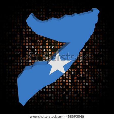 Somalia map flag on hex code 3d illustration - stock photo
