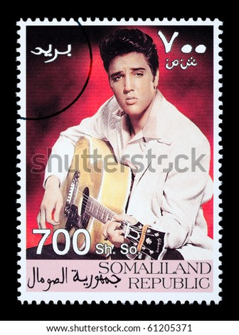 SOMALILAND - CIRCA 2000: A postage stamp printed in Somaliland showing Elvis Presley, circa 2000 - stock photo