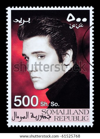 SOMALILAND - CIRCA 2008: A postage stamp printed in Somaliland showing Elvis Presley, circa 2008 - stock photo