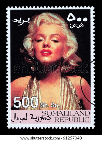 SOMALILAND - CIRCA 2000: A postage stamp printed in Somaliland showing Marilyn Monroe, circa 2000 - stock photo