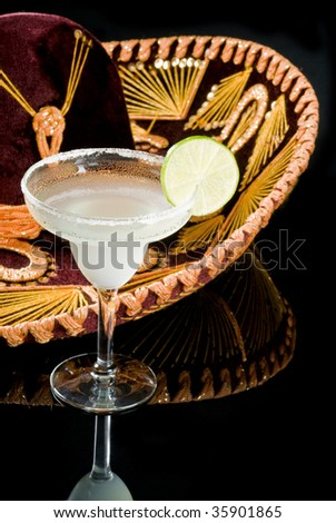 Sombrero and Margarita Cocktail - stock photo