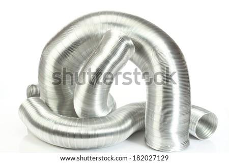 Some aluminium air tubes on white - stock photo